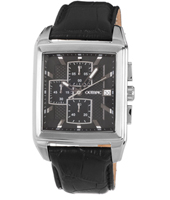 39mm Rectangular steel & black chrono with date