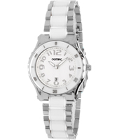 34mm Steel & ceramic ladies watch with date