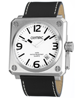 46mm Square Steel & White Gents Watch with Date