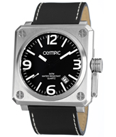 46mm Square Steel & Black Gents Watch with Date