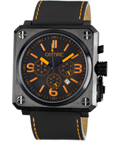 46mm Square Steel, Black & Orange Gents Chrono with Date