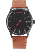 OL89HZL002  45mm Black watch with brown strap