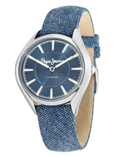 R2351101502 Alice 38mm Silver Ladies Watch With Denim Blue Leather/Textile Strap