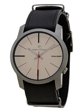 Cambridge  Gunmetal Coated Steel Watch with Black Leather Strap
