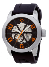 R1 Automatic 48mm Steel, Black & Orange Automatic Skeleton Watch