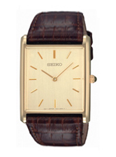 39mm Rectangular Gold Gents Watch on Brown Strap