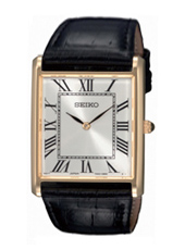 39mm Rectangular Gold & White Gents Watch on Black Strap