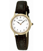 26mm Classic Gold & White Ladies Watch on Brown Strap