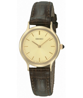 26mm Classic Gold Ladies Watch on Brown Strap