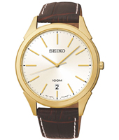 40mm Gold 10 ATM Quartz Watch on Brown Strap