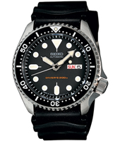 42mm Automatic Black 20 ATM Day/Date Dive Watch, Rubber Strap