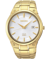 41.40mm Gold & White 10 ATM Solar Powered Watch with Date