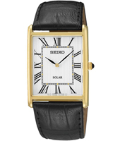 28.50mm Classic Gold Gent's Watch With Square Case And Black Leather Strap