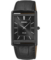 28.50mm Black Gent's Watch With Square Case And Leather Strap