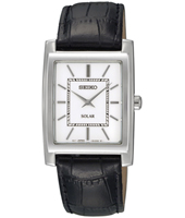 28mm Rectangular Steel & White Solar Powered watch