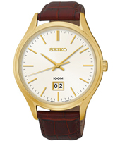 42mm Gold & White 10 ATM Watch with Big Date & Brown Strap