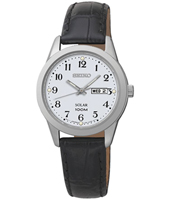 29mm Silver Ladies Watch With Day/Date And Black Leather Strap