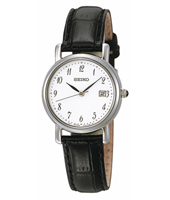 25mm Classic Steel & White Ladies Watch with Date on Black Strap