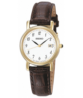 25mm Classic Gold & White Ladies Watch with Date on Brown Strap