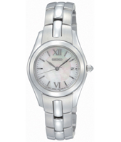 26mm Steel & Mother of Pearl ladies watch with date