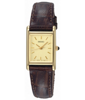 18mm Classic Square Gold Ladies Watch on Brown Strap