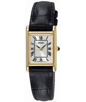 18mm Classic Square Gold & White Ladies Watch on Black Strap