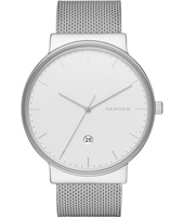 Ancher Large 40mm Silver milanese watch with date