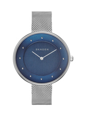 Gitte 38mm Silver Milanese Watch with Blue Dial