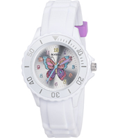 Rainbow Butterfly White Girl's Watch, Butterfly Print