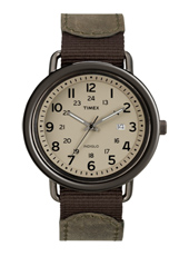 Slip Thru  42mm Brown Watch with Date on Leather/Nylon Strap