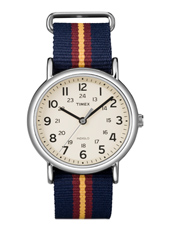 Weekender  38mm Cream Watch on Blue/Red/Yellow Slip Thru Nylon Strap