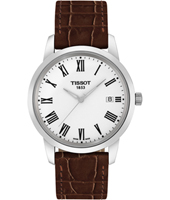 Classic Dream  38mm Steel, White & Brown Watch with Date & Roman Numerals
