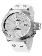 Canteen  45mm White & Steel Watch with Date, Rubber Strap