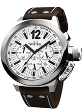 CEO Canteen Chrono 50mm Steel & White Chrono with Date, Brown Strap