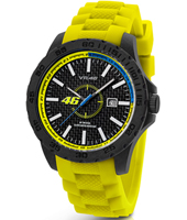 40mm Carbon watch with yellow rubber strap