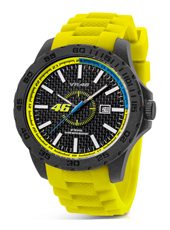 45mm Carbon watch with yellow rubber strap