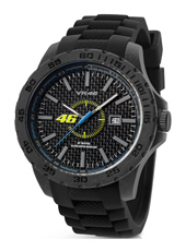 45mm Carbon watch with black rubber strap