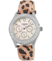 LS21480-MFP  Ladies Watch with Leather Panther Print Strap