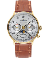 Hindenburg Mondphase 36mm Gold moon phase watch with brown leather strap