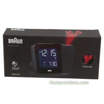 Black Radio Controlled Projector Clock Collection Automne-Hiver Braun