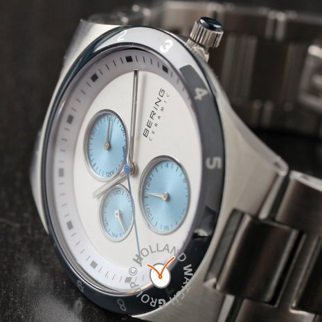 Silver & Blue Gents Watch with Day-Date Spring Summer Collection Bering