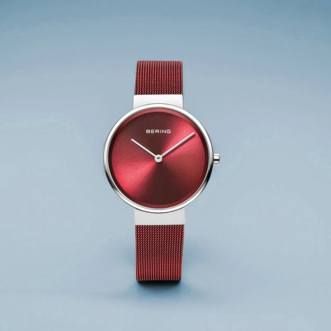 Red & Silver Ladies Quartz Watch Spring Summer Collection Bering