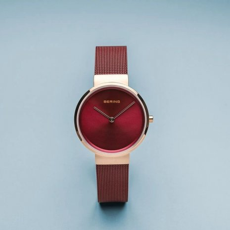 Red & Rose Gold Ladies Quartz Watch Spring Summer Collection Bering
