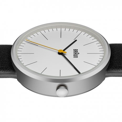 Steel & White Design Gents Watch with Black Leather Strap Spring Summer Collection Braun