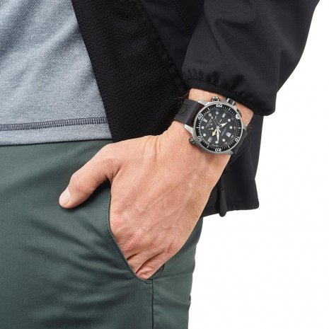 Eco-Drive diving watch with surfacing warning and rubber extension strap Spring Summer Collection Citizen