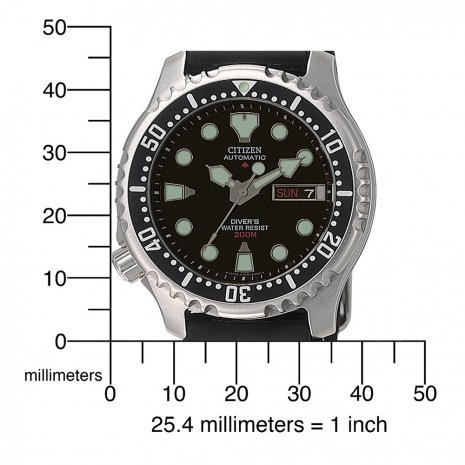 Automatic Black 20 ATM Day/Date Diver with Rubber Strap Spring Summer Collection Citizen