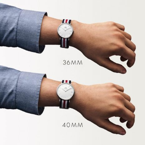 Silver watch with textile strap Spring Summer Collection Daniel Wellington