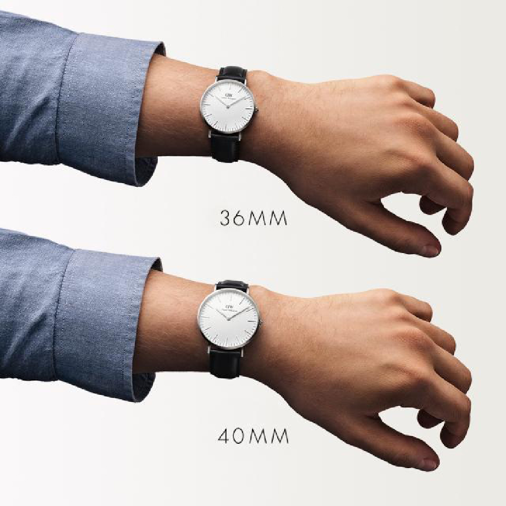 fd0c75114 Silver watch with black leather strap Spring Summer Collection Daniel  Wellington