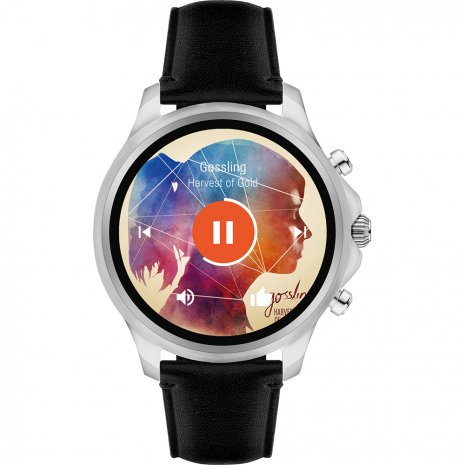 Silver & Black Touchscreen Smartwatch with Leather Strap Fall Winter Collection Emporio Armani