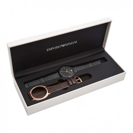 Gift Set Watch Interchangeable Case Black or Rose gold Fall Winter Collection Emporio Armani